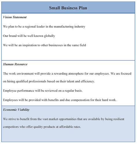 small business plan format of small business plan