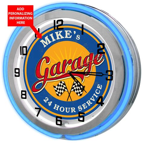 garage personalized neon clock fully customized