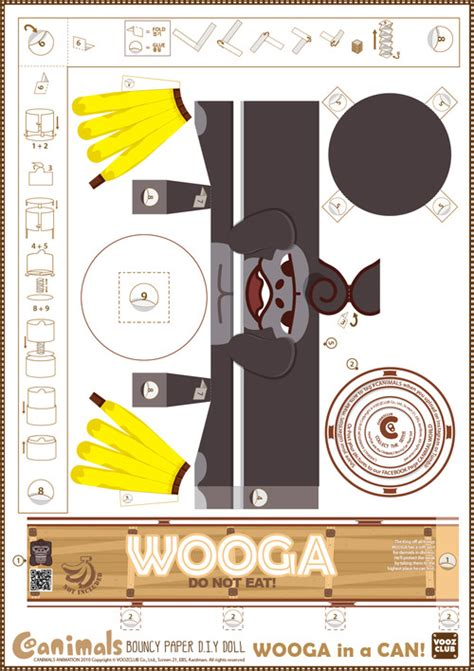 Canimals Papercraft - make your own canimal wooga and bananas paper crafts