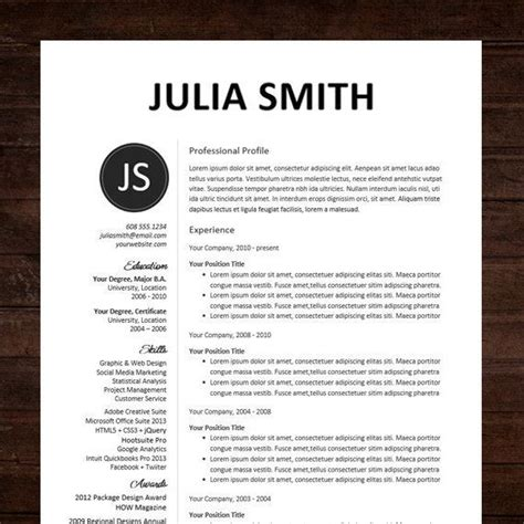 Best Resume Templates Etsy by Resume Cv Template Professional Resume Design For Word
