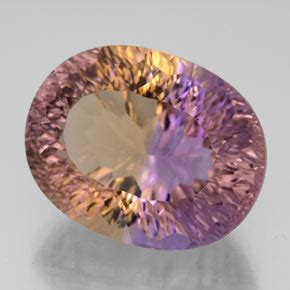 Ametrine 6 60ct 13 60 ct oval concave cut bi color ametrine 17 3 x 13 6 mm
