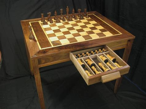 hand carvedturned chess pieces  chess table