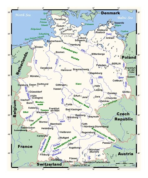 germany map with cities detailed map of germany with major cities germany