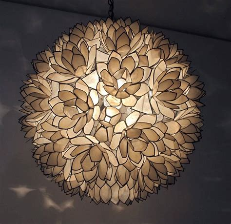 Capiz Shell Light Fixtures by Large Capiz Shell Pendant Light Fixture At 1stdibs