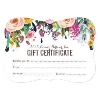 salon gift card template certificate gifts on zazzle