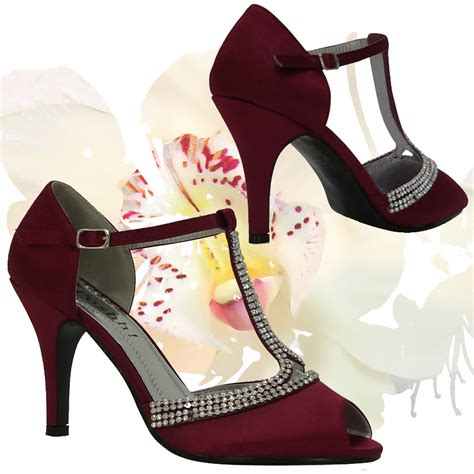 Burgundy Bridal Shoes by L3h Burgundy Satin Peeptoe Mid Height
