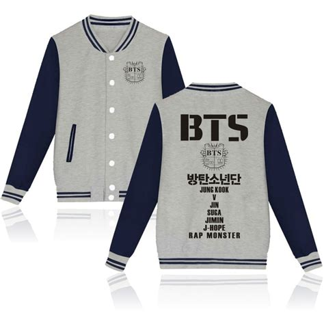 bts merch kpop bts merchandise baseball uniform coat unisex jacket