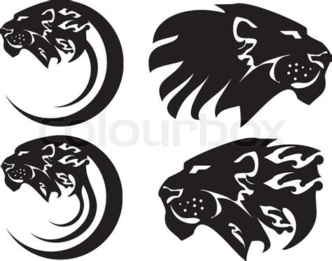 tribal lion symbols isolated on a white background stock