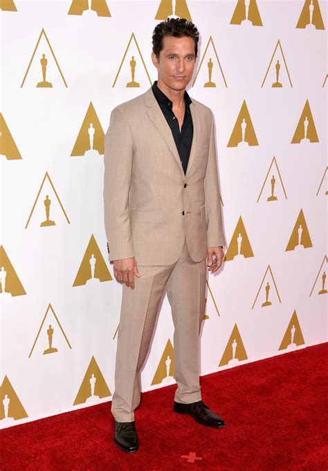 React To Oscar At Luncheon by Matthew Mcconaughey At The 2014 Oscars Popsugar Fashion