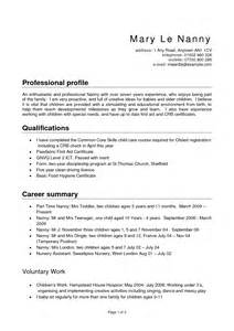 Sle Resume For Nanny Position by Resume Sle Nanny