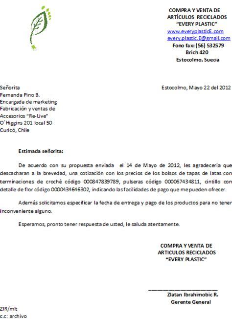 carta de oferta de nuestros productos riveros correspondencia de compra venta
