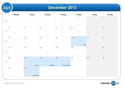 Calendar December 2013 Kalender December 2013