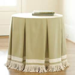 Ballard Design Fabric round pleated party tablecloth with bullion fringe