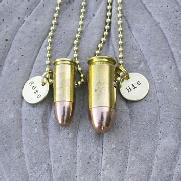 his and hers bullet necklaces from bulletsandwire on etsy