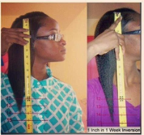 1 inch of natural hair 1 inch in 1 week from using the inversion method