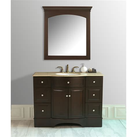 Stufurhome 48 quot lotus single sink vanity with travertine marble top and mirror dark brown