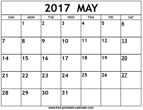 Calendar Of May Printable 2017 May Calendar