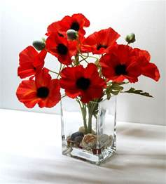 Cheap Vases For Centerpieces Uk Red Poppies In Glass Vase Artificial Flowers Arrangement