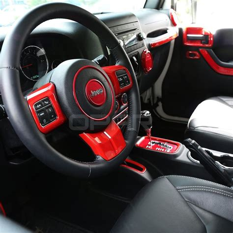 jeep sahara 2017 red opar 3pcs set red steering wheel cover trim for 2011