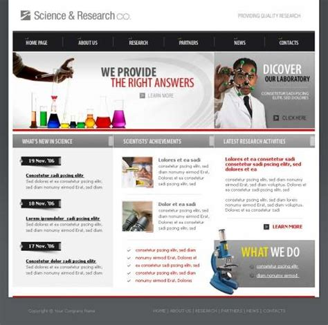 Science Research Company Website Template Templatesbox Com Research Website Template