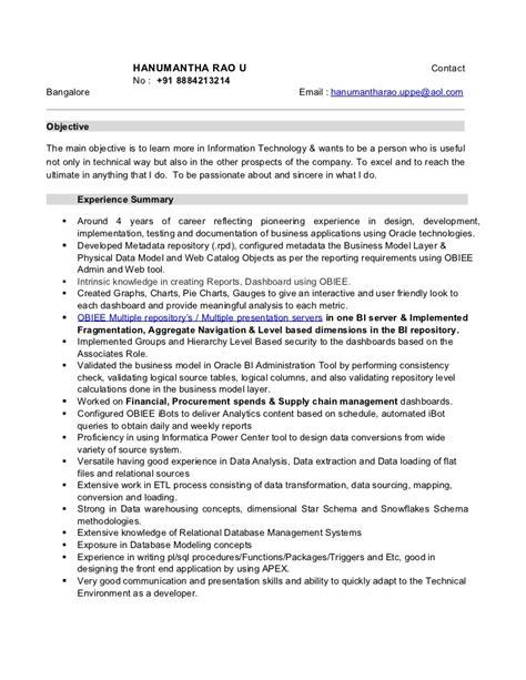 Obiee Architect Sle Resume by Essential Skills To Mention In The Obiee Consultant Resume Hanu Obiee Cv Cv 91 9051643100