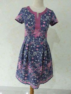 Indb049 Dress Batik Sogan Kondangan Lengan Pendek Baju Wanita Murah baju batik modern murah model dress batik modern terbaru
