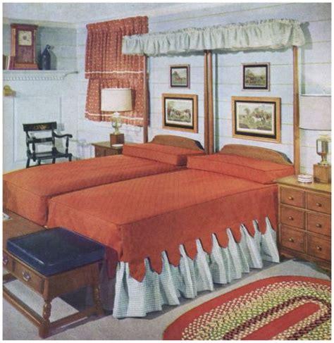 bedroom  twin beds bedroom vintage