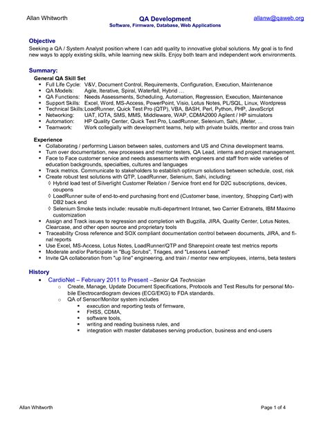 Qa Resume by Senior Qa Resume Resume Ideas
