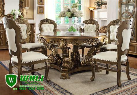 Meja Makan Ukir set meja makan ukir model bundar desain eropa wali furniture
