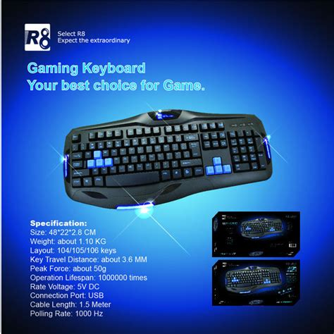 R8 1822 Gaming Keyboard Black 1 r8 keyboard raised keyboard buy raised keyboard r8