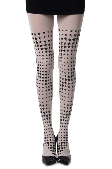 white patterned tights diamonds printed star tights white zohara