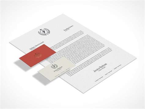 business card letterhead envelope mockup classic isometric stationery letterhead business cards