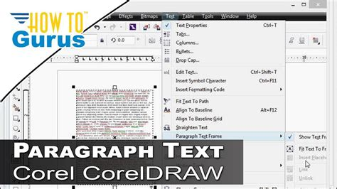 corel draw x7 how to curve text how to use paragraph text frames in coreldraw 2017 x8 x7