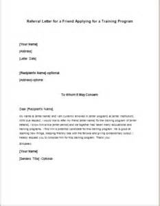 referral letter for a friend applying for a