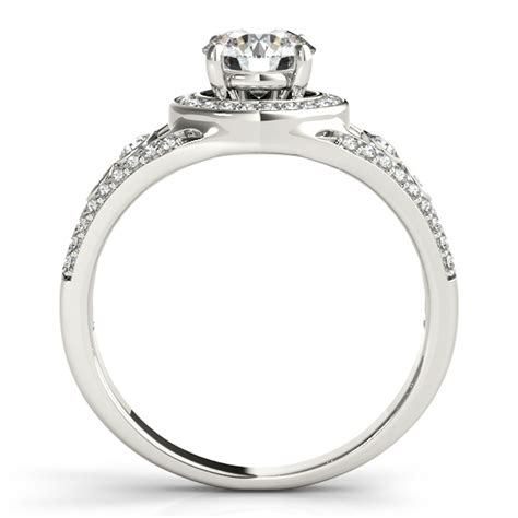 vintage wide band halo engagement ring 14k white