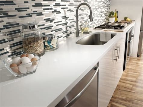 White Corian Countertop by 5 Different Types Of Kitchen Bonito Designs