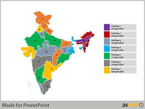 india map ppt template editable india maps to analyze election results