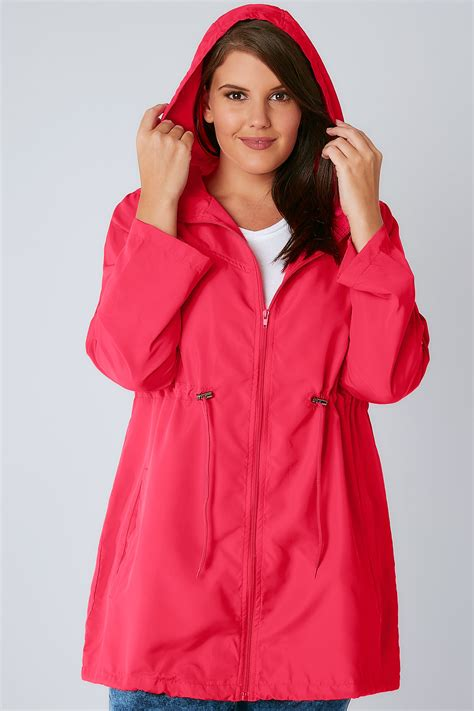 Hodie Parka Pink Ik 1 raspberry pink shower resistant pocket parka jacket with plus size 16 to 36