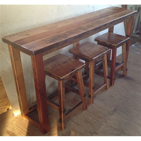 Kitchen Breakfast Bar Table Reclaimed Barn Wood Breakfast Bar With 3 Stools