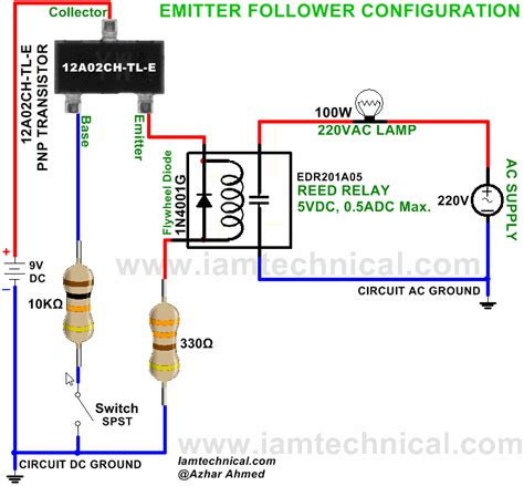 pnp transistor led switch emitter follower configuration pnp transistor 12a02ch tl e switch reed relay edr201a05