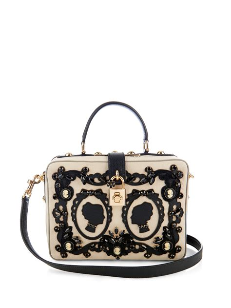 Dolce And Gabbana White Open Leather Bag by Dolce Gabbana Rosaria Embellished Leather Shoulder Bag