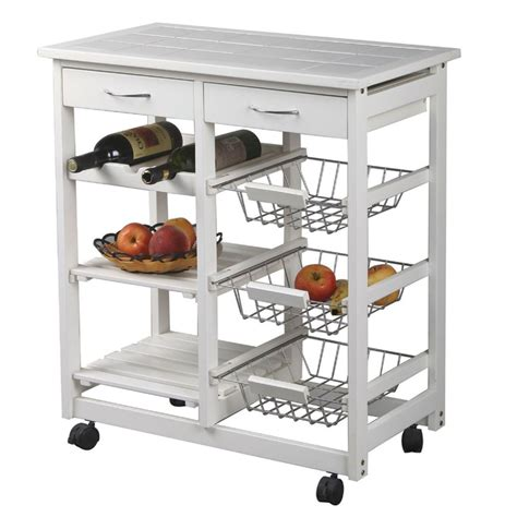 33 best kitchen trolleys images on pinterest marimac pine kitchen trolley with tile top in white