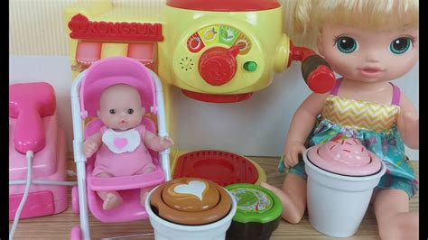Mainan Boneka Swing Doll baby doll play cafe machine toys and slime mix learn colors bayi boneka bermain kafe mesin