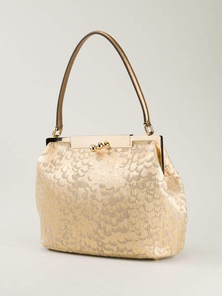 Dolce Gabbana Medium Fabric Bag In Ivory by Dolce Gabbana Medium Fabric Bag In Gold Metallic Lyst