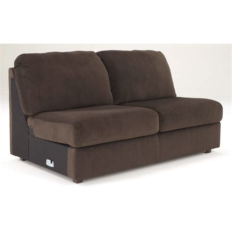 chocolate loveseat jessa place armless loveseat in chocolate 3980434