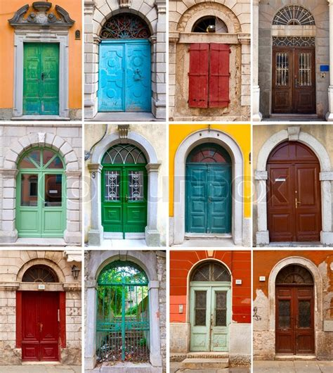 colorful doors collage stock photo image 41305174 a photo collage of colourful front doors to houses stock