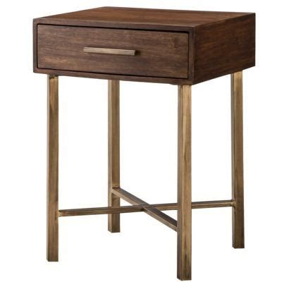 Accent Table With Drawer Threshold Wood And Brass Single Drawer Square Accent Table