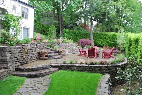 tiered patio design sloping away from home with landscaping and fire pit patio project