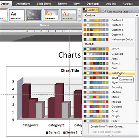 applying themes in powerpoint 2007 applying theme colors and theme fonts in powerpoint 2007