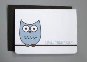 etsygreetings handmade cards owl miss you farewell 4 bar
